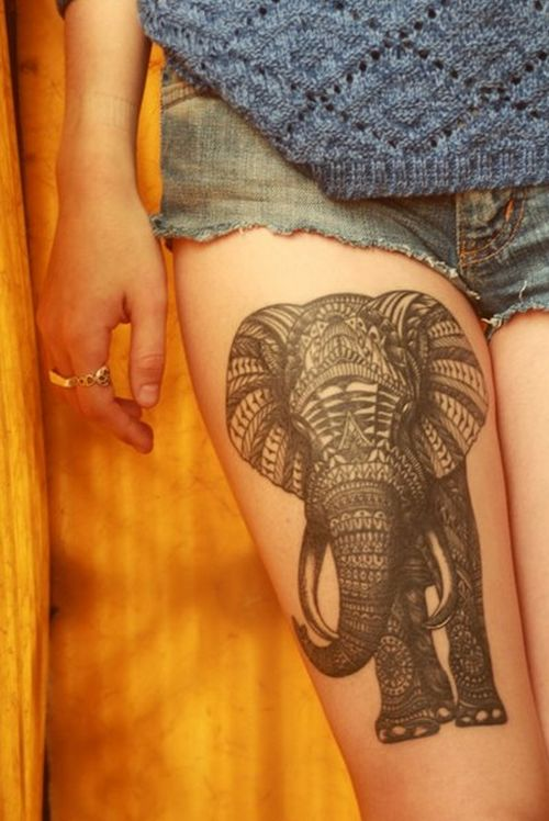 Elephant tattoo on leg