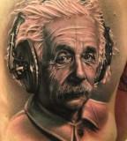 Excellent Einstein portrait tattoo