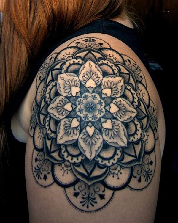 Geometric flowers shoulder tattoo
