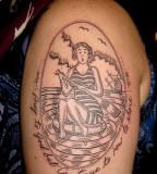 Girl tattoo by Duke Riley