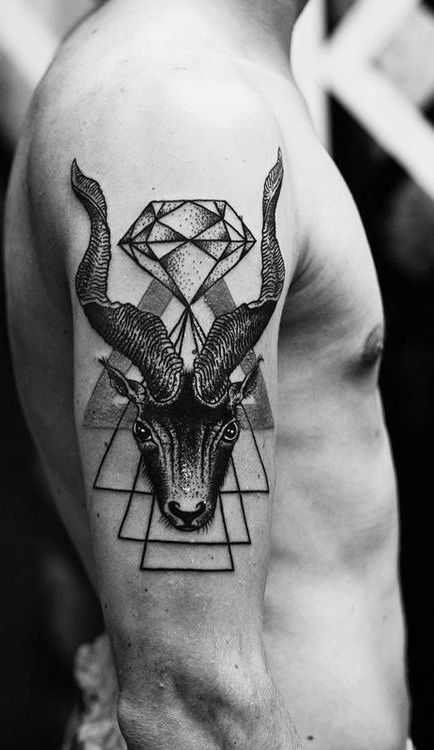 Goat with a diamond tattoo