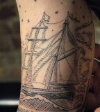 Great ship tattoo by Duke Riley