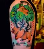 Happy bear tattoo by Marcin Aleksander Surowiec