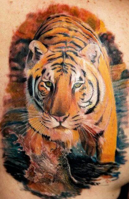 Incredible realistic tiger tattoo