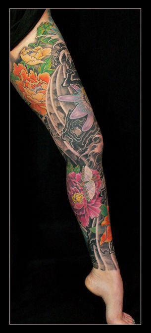Japanese Floral Full Leg Tattoo