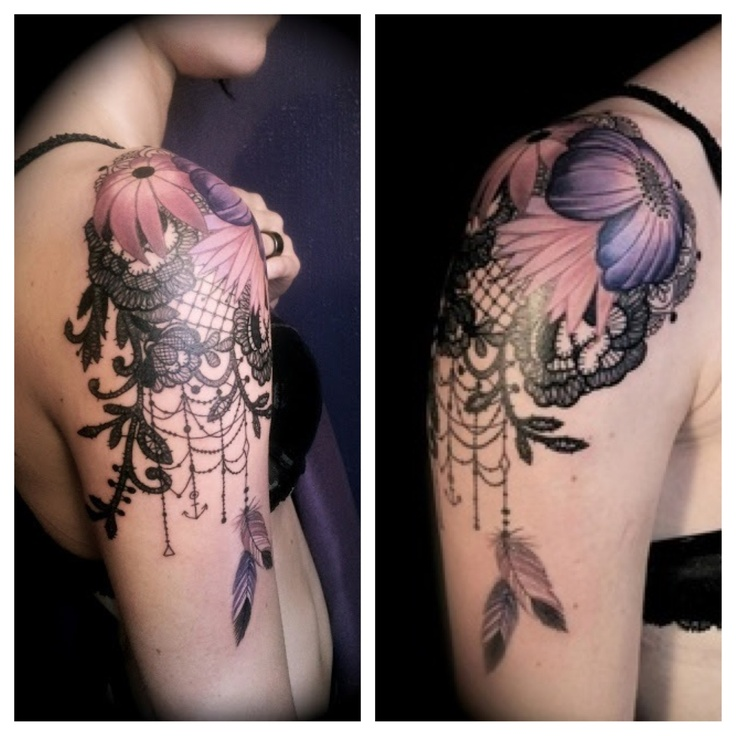 Lace shoulder tattoo with flowers
