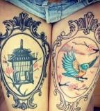 Leg tattoos, antique frame idea