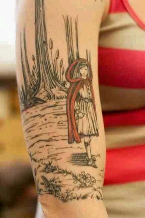 Little Red Riding Hood tattoo, fairy tale tattoo