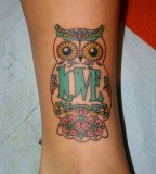 Love and owl tattoo