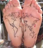 Map on foots tattoo