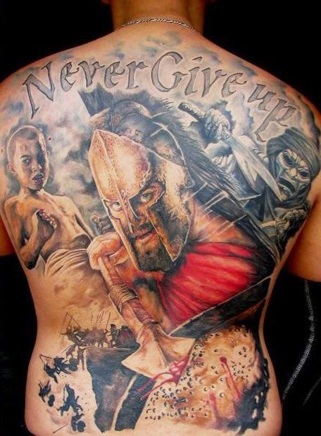Never give up tattoo by Miroslav Pridal