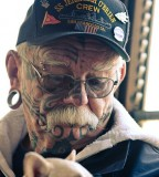 Old man face tattoos