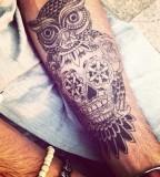 Ornaments owl tattoo