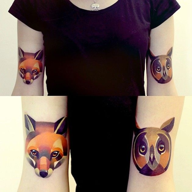 Owl and fox tattoos