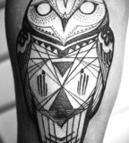Owl black and white tattoo by David Hale
