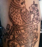 Owl tattoo by Duke Riley