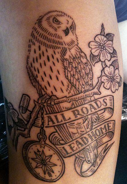 Owl tattoo by Duke Riley