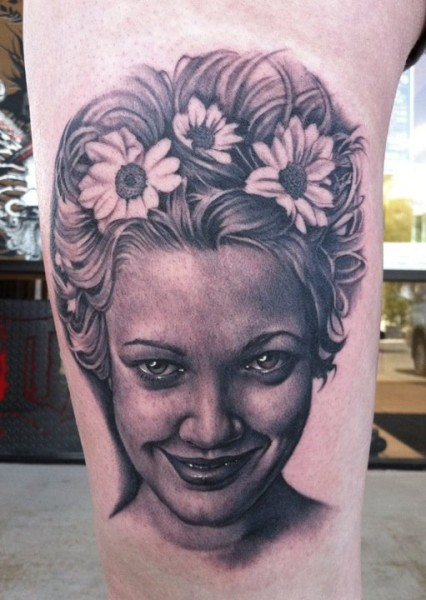 Pretty girl tattoo by Bob Tyrell