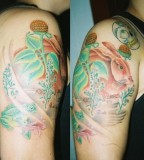 Rabbit and frog fairytale tattoo