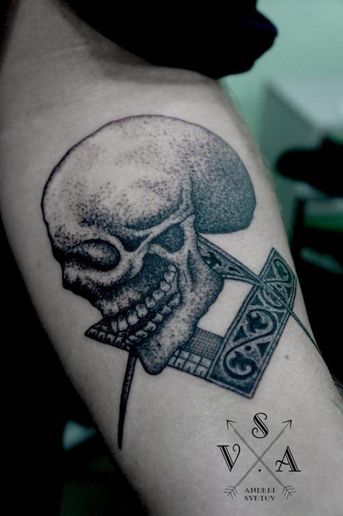 Skull tattoo by Andrey Svetov