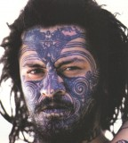 South pacific islander face tattoo