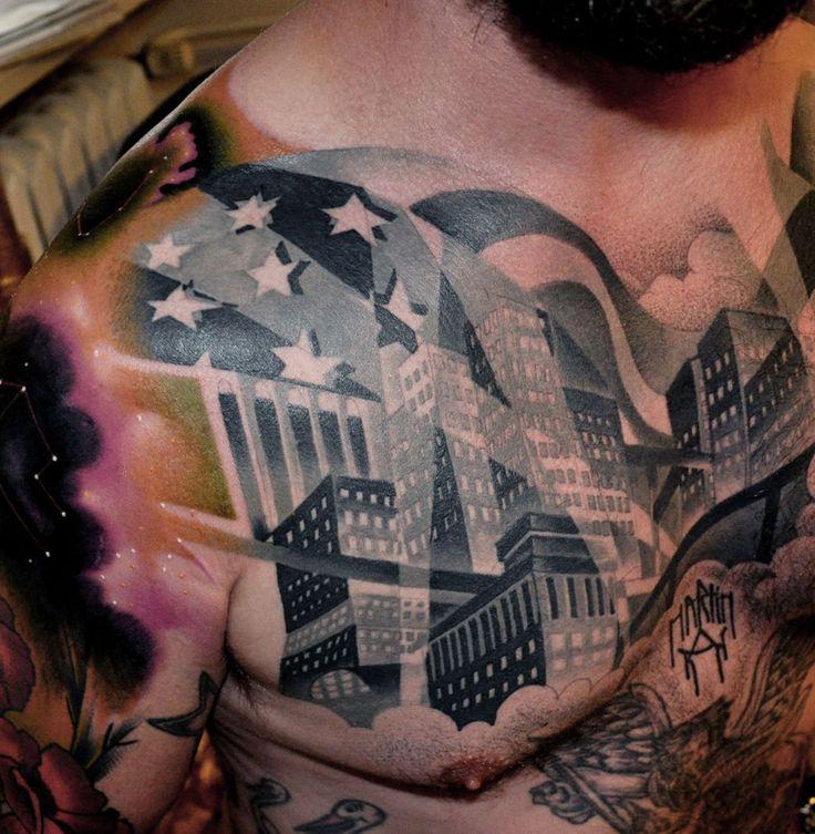 Town tattoo by Marcin Aleksander Surowiec