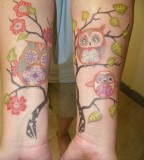 Tree and owl tattoo