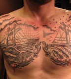 USA ships tattoo by Duke Riley