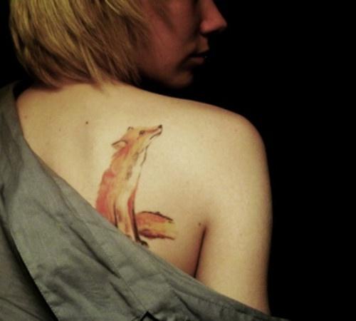 Watercolor fox tattoos on shoulder