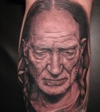 Willie Nelson tattoo by Bob Tyrell
