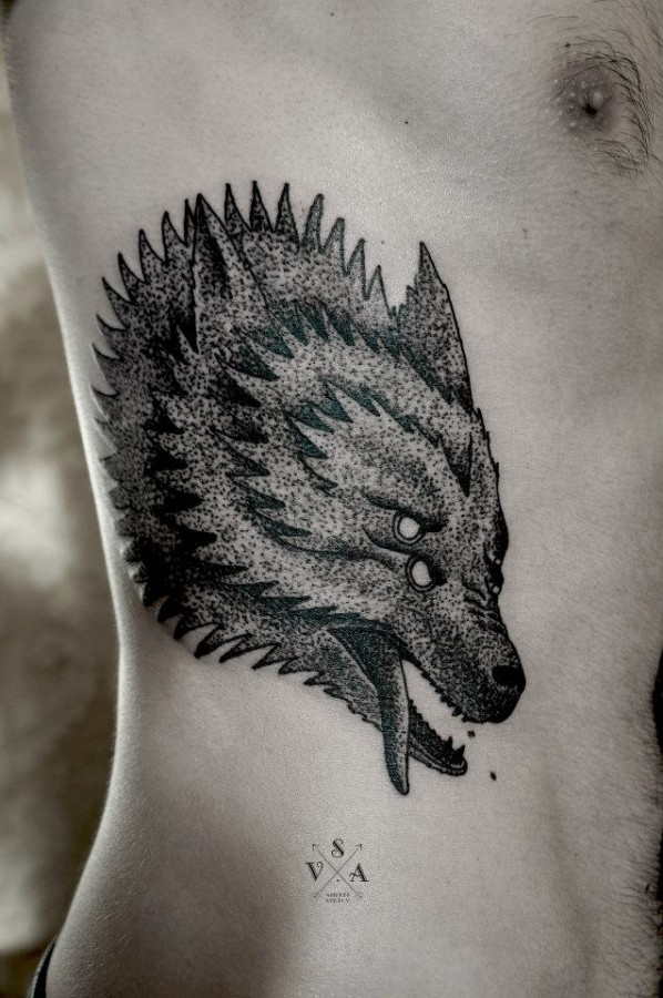 Wolf tattoo by Andrey Svetov