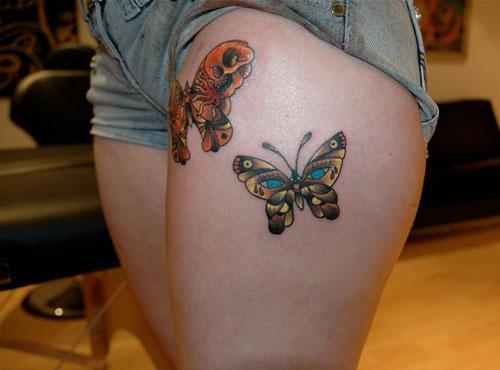 beautiful tattoo placement butterflies on upper thigh