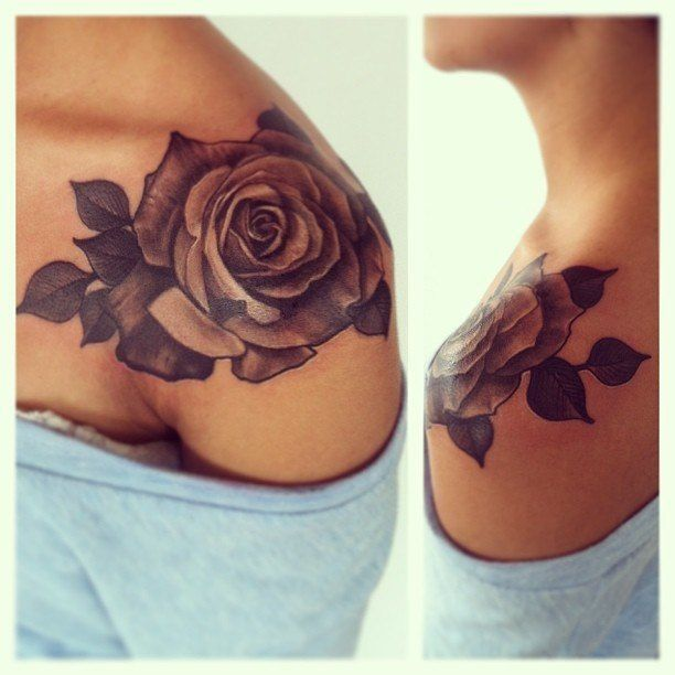 beautiful tattoo placement rose on shoulder