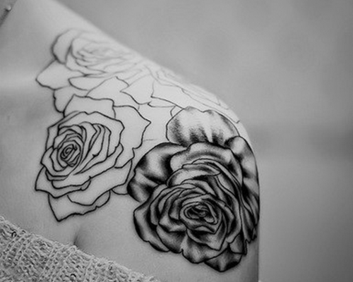black and white roses shoulder tattoo