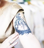 blue ink tattoo anatomic heart