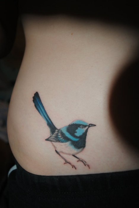blue ink tattoo elegant bird
