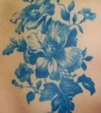 blue ink tattoo flowers