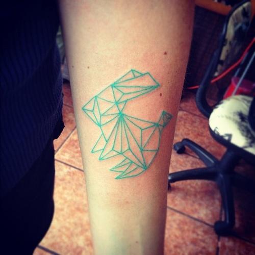 blue ink tattoo geometric light blue rabbit