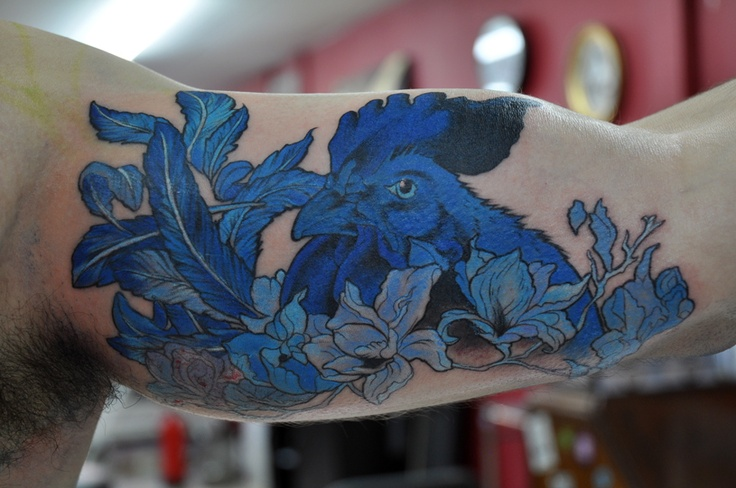 blue ink tattoo rooster