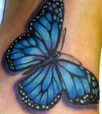 blue tattoo of butterfly