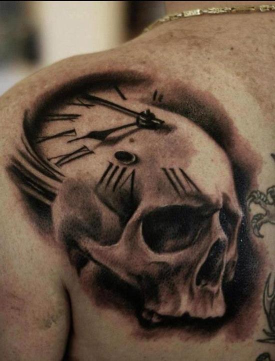 e7722b1e096be clock skull tattoo - | TattooMagz › Tattoo Designs / Ink Works ...