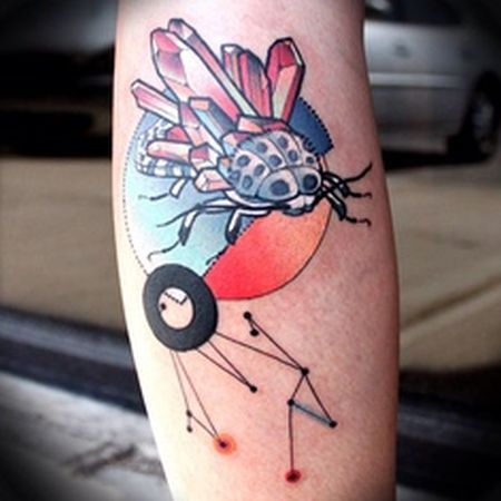 crystal tattoo surreal work with bug