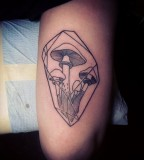 crystal tattoo with mushrooms