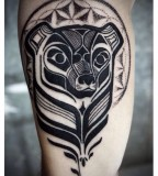 david hale tattoo bear head with halo