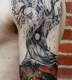 david hale tattoo tree arm sleeve