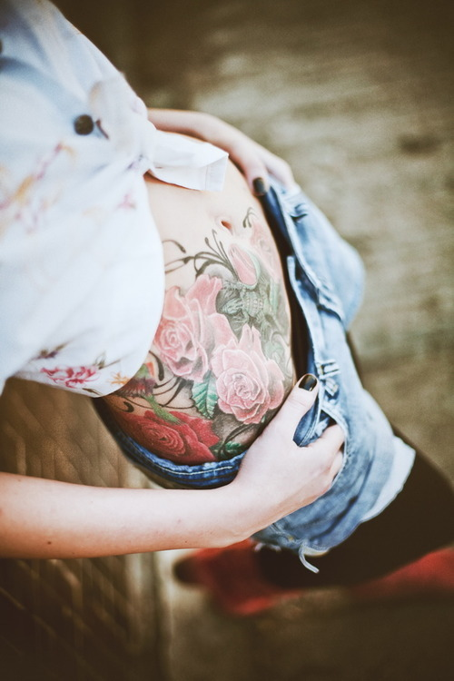 floral stomach tattoo for girl