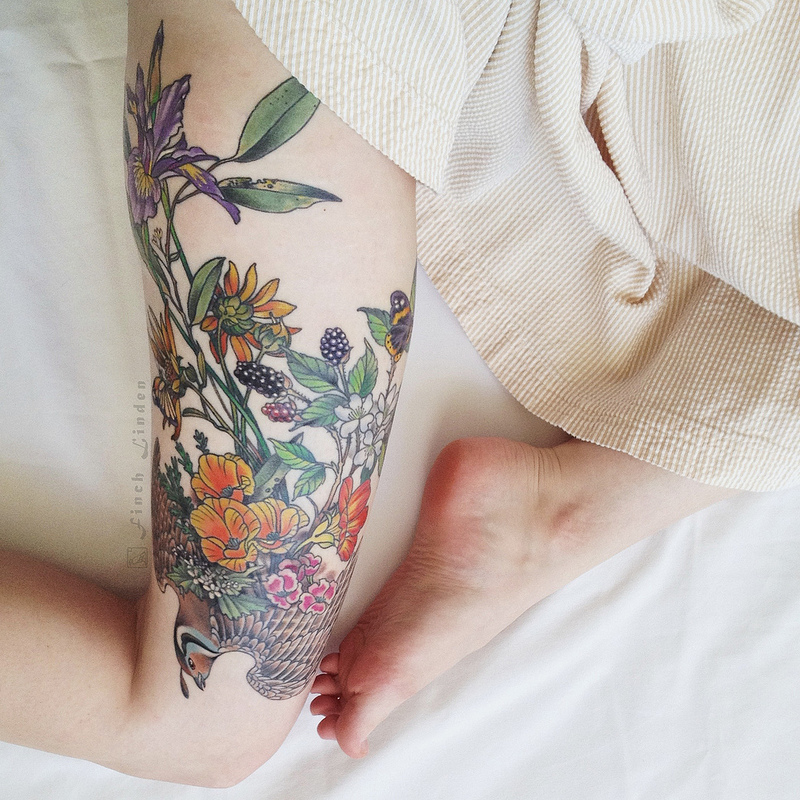 floral thigh sleeve