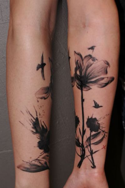 flower and birds watercolor blackwork tattoo