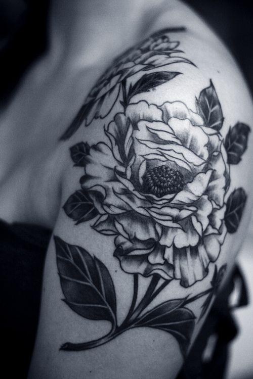 flower tattoos black and white design