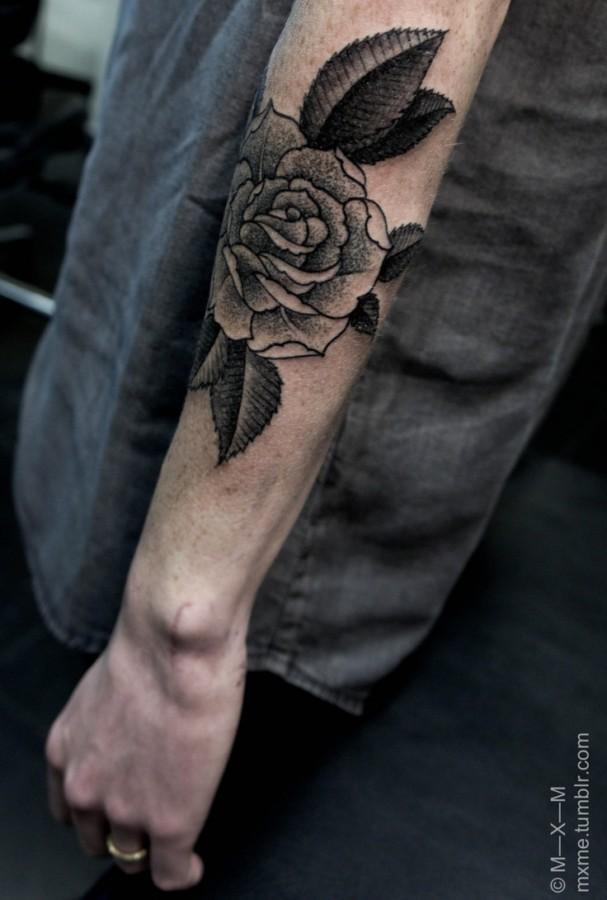 flower tattoos black flower on the hand
